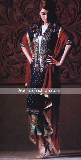 Black Jamawar With Red Chiffon Dupatta
