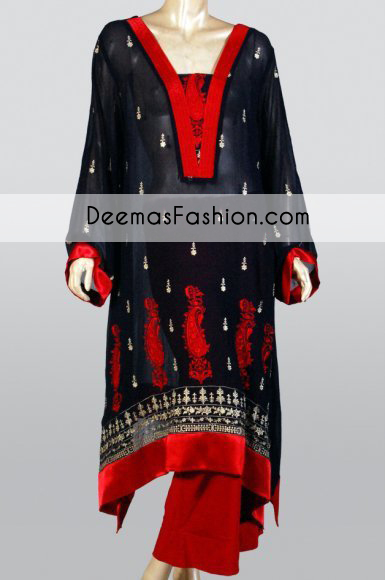 Black Red Party Wear Aline Casual Dress