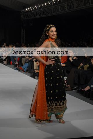 Black Rust Formal Wear Anarkali Pishwas Frock