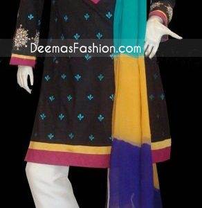 Black Shirt With White Pants And Muli Chiffon Dupatta