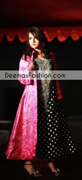 Black Shocking Pink Aline Open Gown Formal Dress