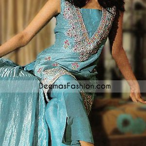 Blue Jamawar With Silky Pants