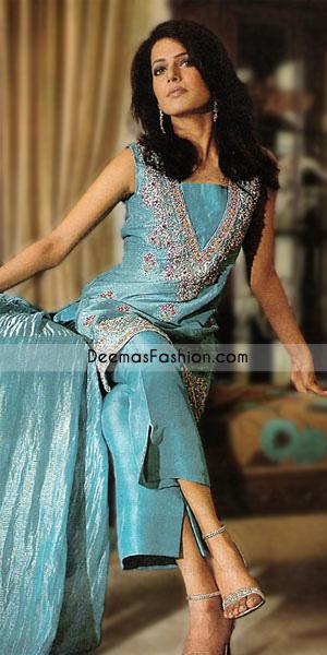 Blue Jamawar With Silky Pants