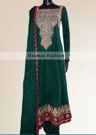 Bottle Green Anarkali Frock with Churidar Pajama