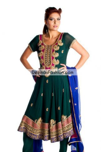 Bottle Green Anarkali Frock Churidar Dress