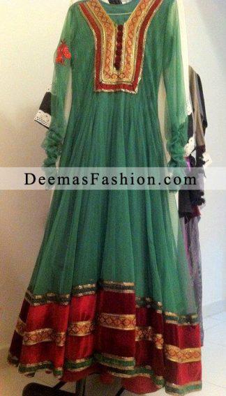 Bottle Green Anarkali Pishwas Dress