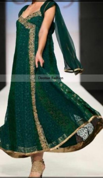 Bottle Green Andrakha Frock Churidar