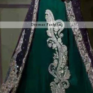 Bottle Green Front Open Gown Style Long Dress
