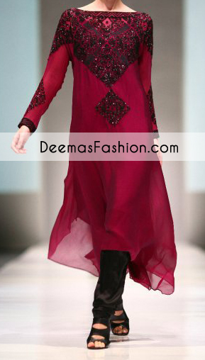 Bright Maroon Casual Wear Aline Shirt Churidar