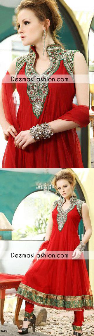 Bright Red Formal Wear Anarkali Frock Churidar