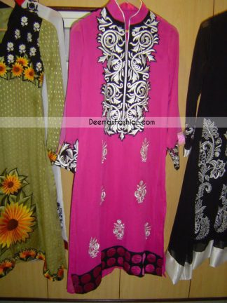 Latest Pakistani Embroidered Collection - Shocking Pink Casual Dress
