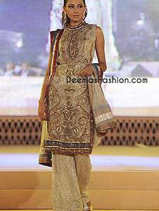 Beige Chiffon Full Embroidered Shirt