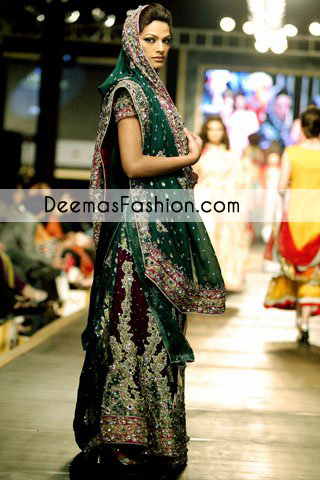 Bottle Green Heavy Formal Bridal Wear Sharara