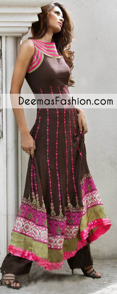 Dark Brown A Line Anarkali Frock Dress