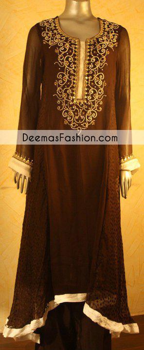 Dark Brown Sides Down Aline Party Wear
