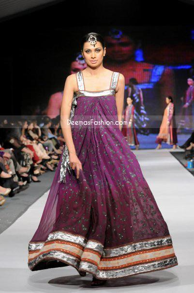 Latest Pakistani Fashion Dark Purple Pishwas Churidar
