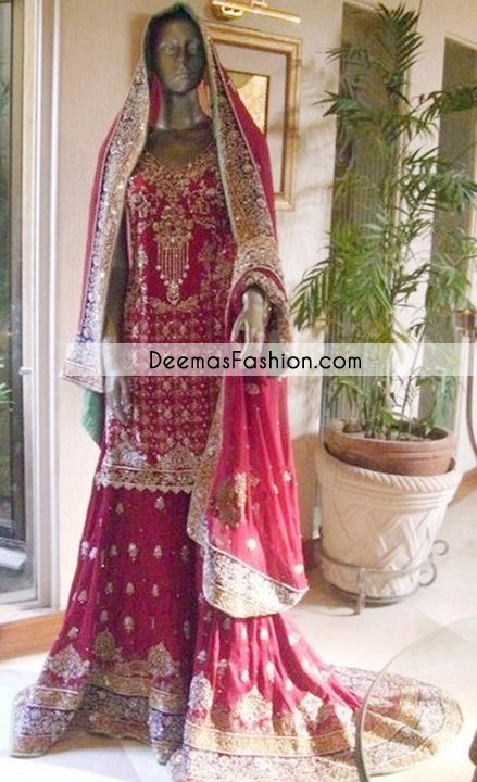 Deep Pink Heavy Back Tail Bridal Lehenga
