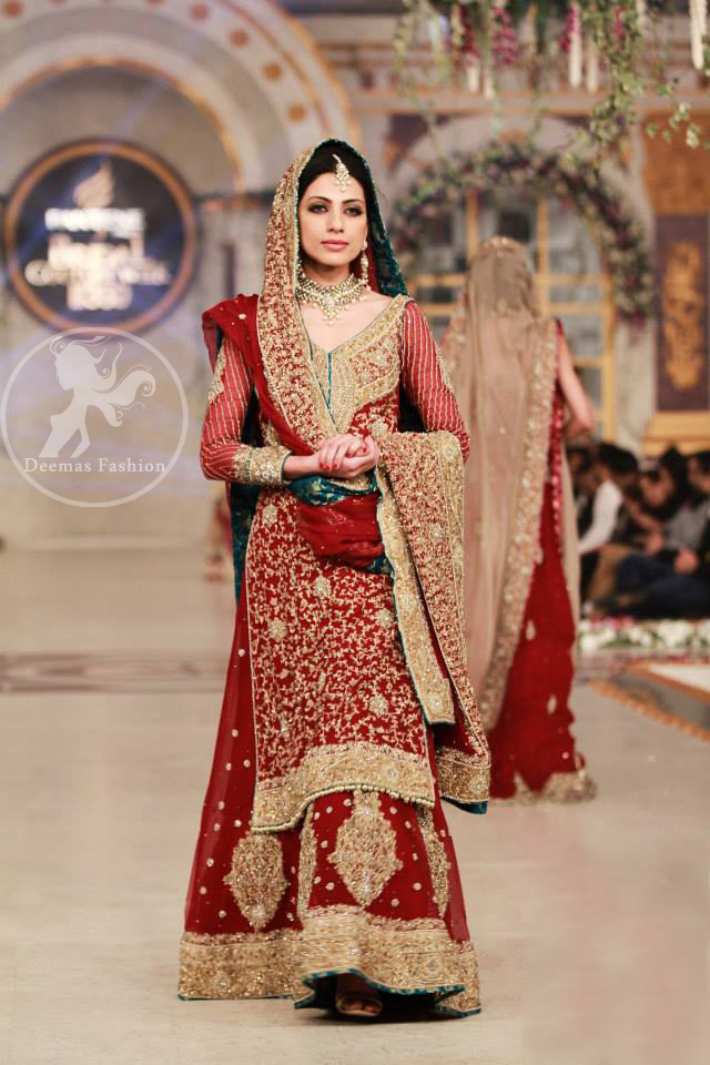Deep Red Heavy Bridal Shirt Lehenga