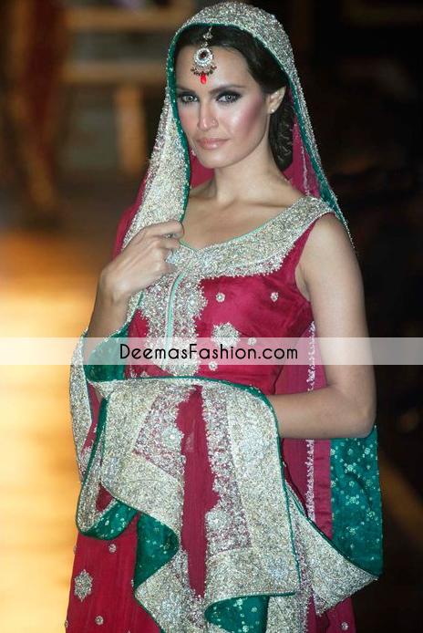 Deep Red Heavy Bridal Wear Lehnga