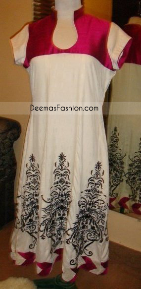 Pakistani Latest Fashion Elegant Red White Casual Dress