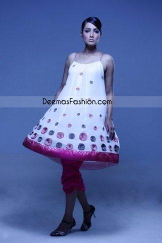 Pakistani Designer Wear Elegant White Anarkali Frock