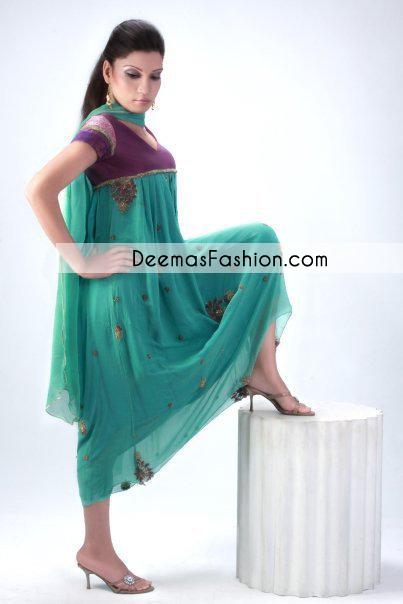 Ferozi Green Aline Casual Wear Frock Churidar