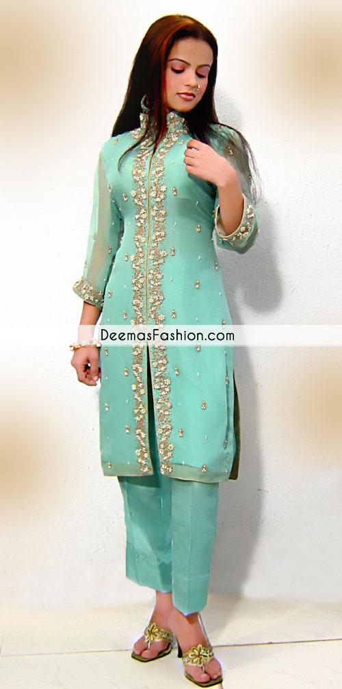 Ferozi Green Front Open Casual Wear Dress