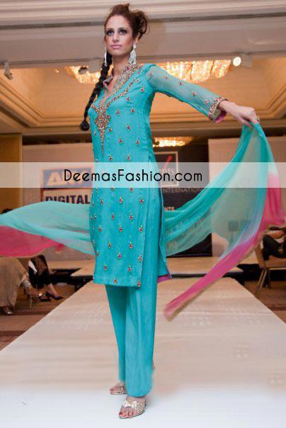 Ferozi Party Wear Dress