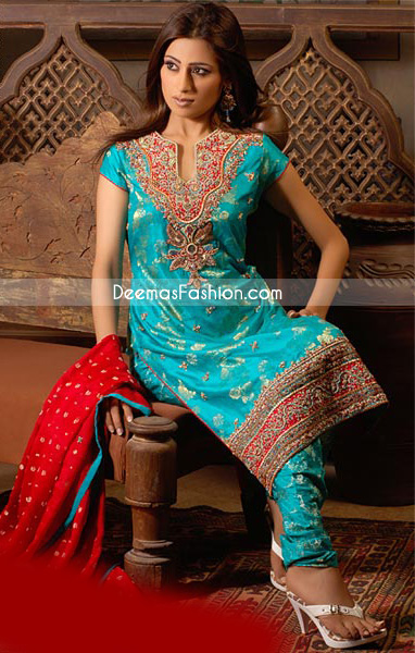 Ferozi Raw Silk With Red Embroidered Boarder