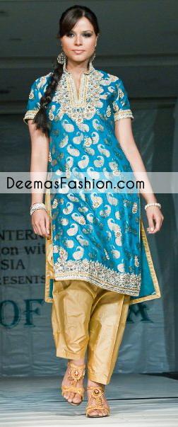 Ferozi Yellow Formal Part Wear Shalwar Kameez