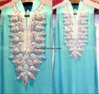 Designer Wear - Ferozi With Silver Embroidery