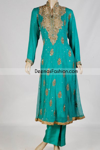 Pakistani Ladies Designer Wear – Sea Green Anarkali Dress
