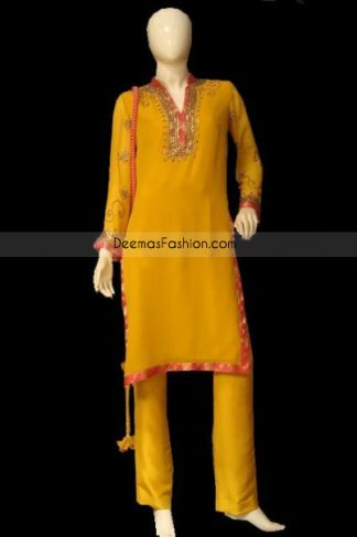 Golen Yellow With Red Embroiderd Neck