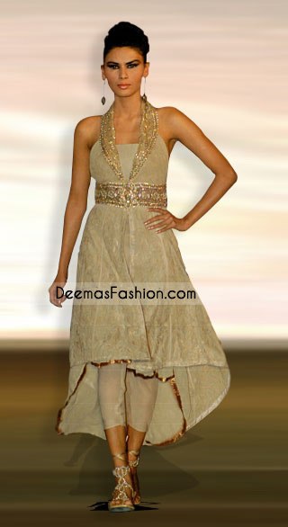 Indian Designer Wear – Beige Embroidered Anarkali Dress