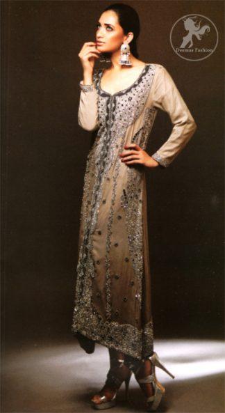 Latest Pakistani Formal Wear Grayish Brown Long Shirt, Trouser and Dupatta