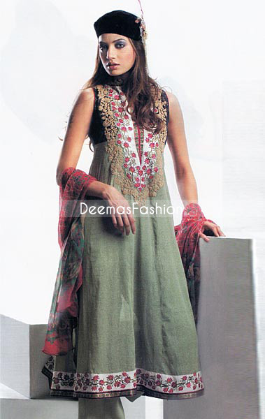 Pakistani Designer Fashion Green A-line Anarkali Dress
