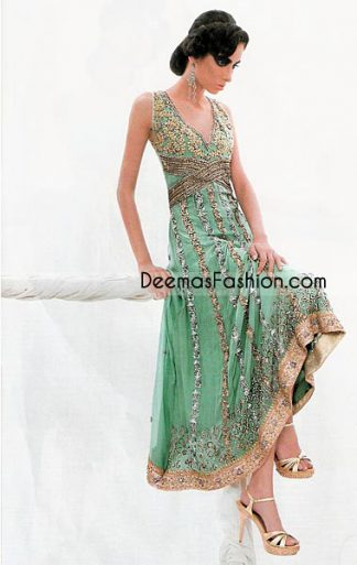Pakistani Boutique Design Green Golden Chiffon Frock