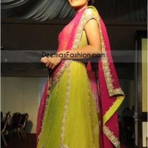 Traditional Dress Green Shocking Pink Anarkali Pishwas