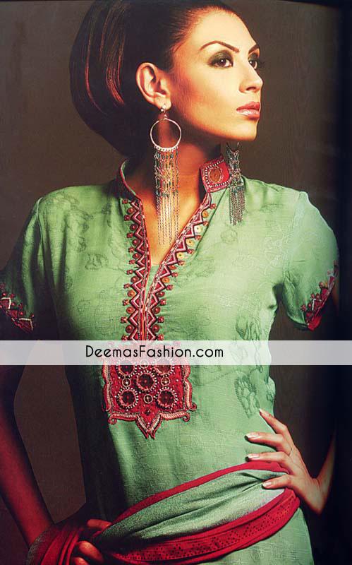 green-red-party-casual-wear-shirt-churidar1