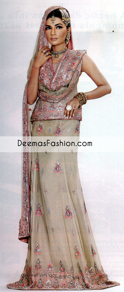 Grayish Green Bridal Wear Lehnga