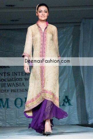 Light Golden Purple Front Open Formal Shirt with Flapper