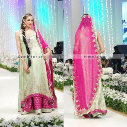 Light Green Back Tail Aline Shirt with Shocking Pink Sharara and Dupatta