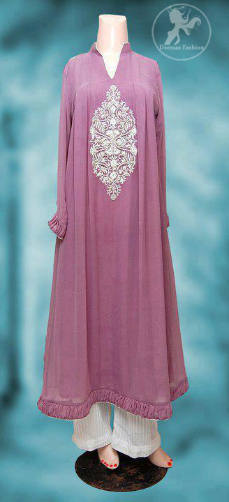 Light Mauve Casual Wear Aline Frock Trouser