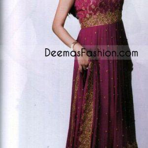 Buy Ladies Fashion Magenta Embroidered Border Anarkali Dress