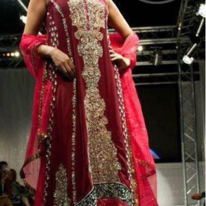 Maroon And Pink Heavy Embroidered Bridal Frock