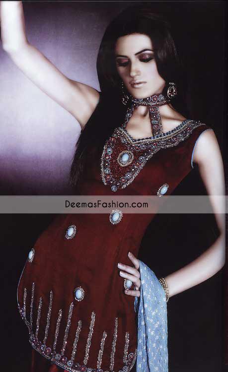 Latest Pakistani Ladies Wear Maroon Ferozi