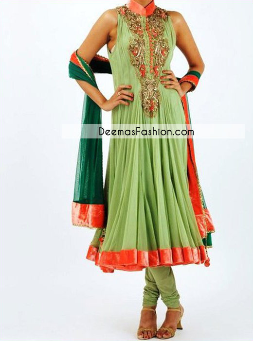 Mehndi Green Bottle Green Aline Frock Churidar