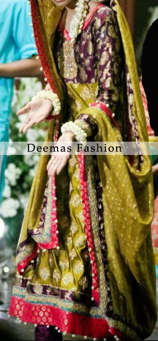 Mehndi Wear Green Dark Purple Frock Churidar