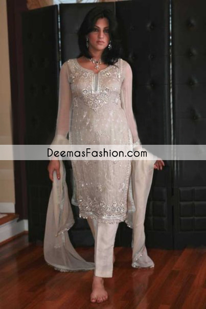 Off White Heavy Formal Party Wear Dress