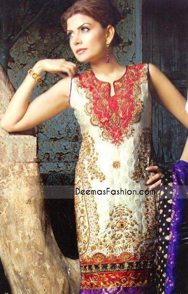 Pakistani Designer Clothes – Off White Jamawar